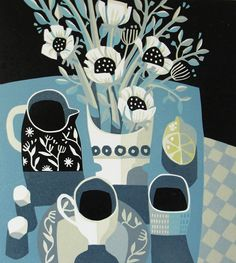 Jane Walker Lemon and Teacup #linocut