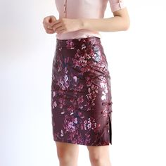 2017 осень, для женщин китайской плиты пряжка с цветочным принтом Обёрточная бумага юбка ledies пикантные Пояса из натуральной кожи бедра тонкий Cheongsam цвет красного вина Jupeкупить в магазине Baa&Moo StoreнаAliExpress