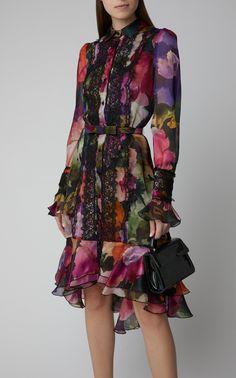 Click Product to Zoom Marchesa Lace-Trimmed Ruffled Floral-Print Chiffon Mini Dress ColorFloral Fashion 2020, Look Fashion, Womens Fashion, Pretty Dresses, Beautiful Dresses, Marchesa Fashion, Dress Skirt, Dress Up, Fashion Sewing