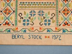 1970s Vintage Alphabet Embroidery Sampler with by StoreAndMore