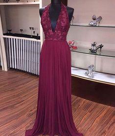 Elegant Prom Dress,Sexy V Neck Prom Dress,Halter V