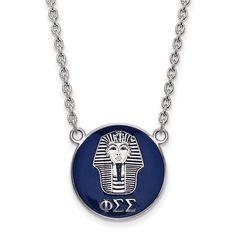 Sterling Silver LogoArt Phi Sigma Sigma Small Enl Pend w/Necklace
