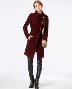 GUESS Funnel-Collar Asymmetrical Coat - Not sure if I can pull off the color, but I love this look! Military Style Coats, Asymmetrical Coat, Top Coat, Military Fashion, Autumn Winter Fashion, Winter Style, Fall Fashion, Teen Fashion, Coats For Women