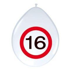 Ballonnen Verkeersbord - 16 jaar, 8st.