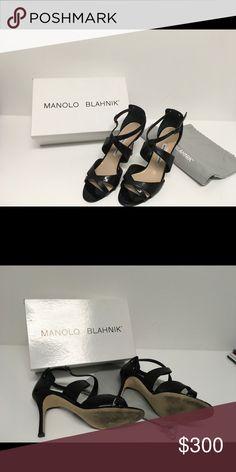 Manolo Blahnik Ginkoballo black patent sandals Worn one time see photos Manolo Blahnik Shoes Sandals