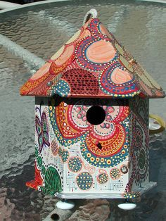 Hexagon Painted Birdhouse front w/ Button Embedded Embellishment by YaddaYaYa, via Flickr