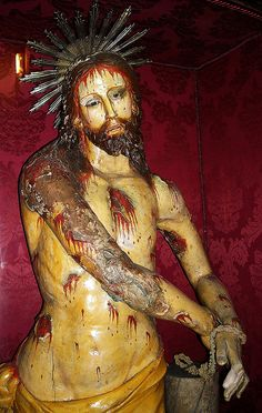 Whiped Christ - wood and polychrome sculpture beginning 19th century - Sant'Orsola Church in Naples   da * Karl *