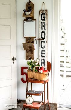 Reclaimed wood message centre and nagging Grocery sign / FunkyJunkInteriors.net
