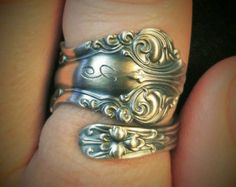 Organic Ring Sterling Silver Spoon Ring Victorian Ring by Spoonier