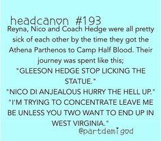 Nico, Reyna, and Coach Hedge.