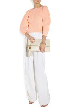 Chloé|Metallic-flecked cotton-blend sweater|NET-A-PORTER.COM