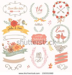 Wedding romantic collection with labels, ribbons, hearts, flowers, arrows, wreaths, laurel and birds. Graphic set in retro style. Save the Date invitation in vector. - stock vector