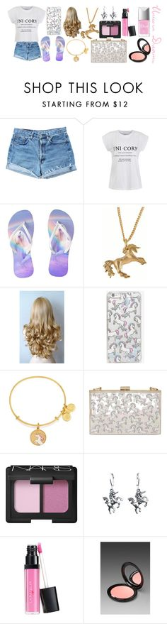 """Unicorn Dreams"" by the-fashiondesigner ❤ liked on Polyvore featuring beauty, Levi's, Ally Fashion, Joy Everley, Skinnydip, Alex and Ani, NARS Cosmetics, Stila and Christian Dior"