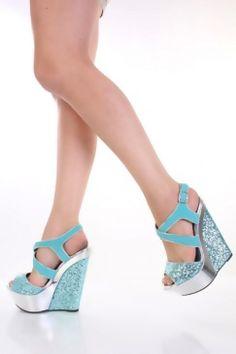 $23 Tiffany Blue Glitter Faux Suede Cross Strap Platform Wedges