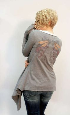 Easy drape cardigan from two shirts...this is rad.  I love her embroidery on the back.