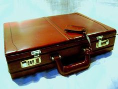 Vintage Briefcase Top Grain Leather Attache Case by junquegypsy, $54.20