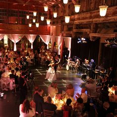 Industrial Chic and Warehouse Wedding Inspiration - draping to separate areas into smaller gathering spots