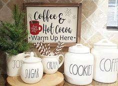 I will keep this little area up until after winter coffee &hot cocoa sign is ava. - I will keep this little area up until after winter coffee &hot cocoa sign is available in the Etsy - Christmas Coffee, Christmas Signs, Christmas Time, Christmas Wood, Christmas Ideas, Christmas Crafts, Christmas Decorations, Hot Coco Bar, Coffee Bar Signs