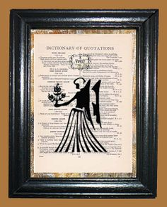 Black Virgo Zodiac Art  Vintage Dictionary Page by CocoPuffsArt, $9.99