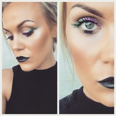 Two colored liner and black lips