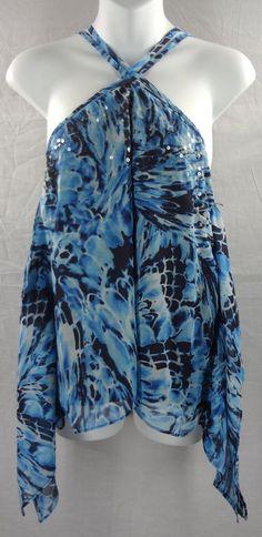 Small Blue JENNIFER LOPEZ Shark-Bite Halter Top Polyester Sleeveless S #JenniferLopez #Halter