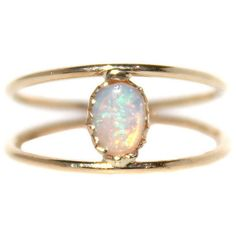 Caged Opal Ring Stone & Novelty Rings ($372) ❤ liked on Polyvore featuring jewelry, rings, 14 karat gold ring, 14k ring, 14k jewelry, stone rings and opal jewellery