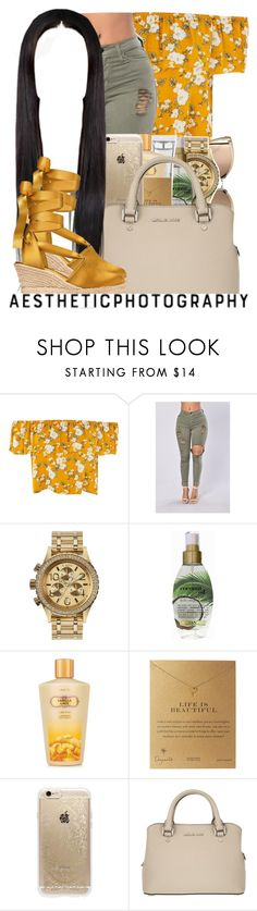 """""""golden leaf ✨"""" by finesseprincess ❤ liked on Polyvore featuring Nixon, Organix, M.A.C, Victoria's Secret, Dogeared, Rifle Paper Co, MICHAEL Michael Kors and Tory Burch"""