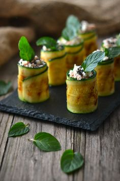 Rolls of Courgette with Cream Cheese and Tuna