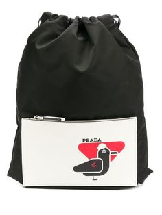 e97697ddee7d Prada Bird Patch Drawstring Backpack - Farfetch Drawstring Backpack, Prada,  Patches