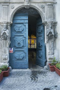 Main door of the 16th Century Palazzo Puccetti, ~Cingoli, Italy, former residence of the Blancatelli house.
