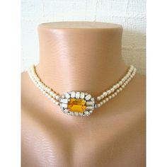 Pearl Bridal Necklace, Wedding Jewelry, Rhinestone, Vintage Jewellery,... ($77) ❤ liked on Polyvore