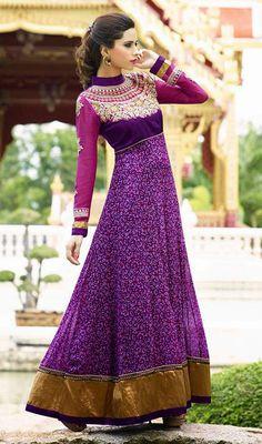 Magenta and Violet Georgette Long Churidar Dress Price: Usa Dollar $108, British UK Pound £64, Euro80, Canada CA$117 , Indian Rs5832.
