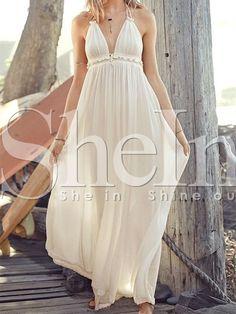 Vestido tirante fino cuello V maxi -beige 20.23