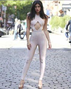 b0848fe421d7 Hot New Fashion 2017 Cut Out Back Halter Neck Bandage Jumpsuit