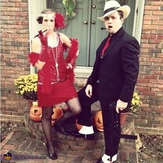 Heather: My Boyfriend and I are wearing the costumes and we are a 1920s Flapper Girl and Gangster.