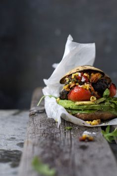 this looks awesome, I really feel like I wan't to eat it, it kinda gives me the feeling of a festival.   Grilled Portobello Burger w Seriously Sensational Salsa