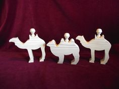 3 Camels with Peg Doll Riders, Unfinished Wood