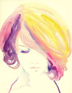 used this photo as an idea for a haircut once. looove the watercolor!