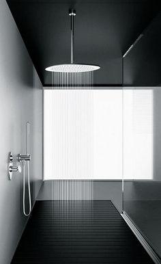 Francesco Lucchese for Fir Italia | Synergy showerhead in white Corian with chrome plating