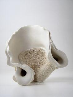 white ceramic sculpture art by Noriko Kuresumi
