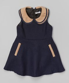 Another great find on #zulily! Navy A-Line Dress - Toddler & Girls by Dino Bebe #zulilyfinds