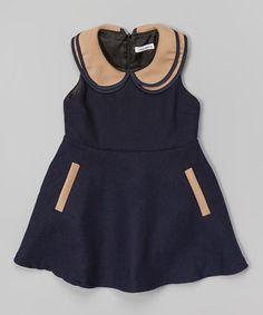 Navy A-Line Dress - Girls