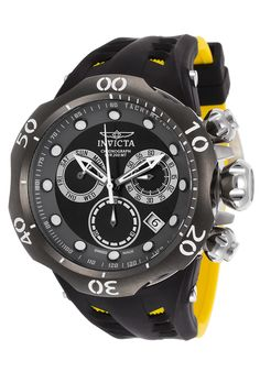 Invicta 16996 Watches,Men's Venom Chronograph Black & Yellow Silicone Black & Grey Dial, Luxury Invicta Quartz Watches
