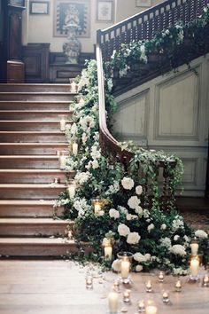 Floral Garland Wedding Staircase, creative, modern and interesting use of flowers. #2015 #Wedding #Trend