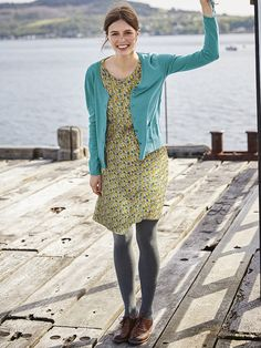 Dance the day away in our Twist and Shout dress alive with a colourful printed figures. Fully lined this lightweight flared dress features delicate pleating and faggoting a fixed rounded collar rear keyhole detail and a lace neck trim. Jumpers For Women, Cardigans For Women, Long Knit Cardigan, Blue Cardigan, Cosy Outfit, Grey Tights, Twist And Shout, Fall Capsule Wardrobe, Modest Outfits