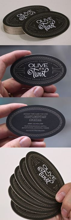 Black And Gold Edge Painted Oval Die Cut Letterpress Business Card For A Cocktail Bar