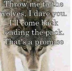 kaste mig for ulvene, jeg vover dig. Jeg vil komme tilbage førende pakningen. det er et løfte