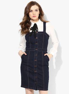 83a03ed23a Blue Button Through Denim Pinafore Dress Denim Pinafore