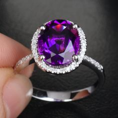 THIS IS SO STUNNING Dark Purple AMETHYST PAVE DIAMOND 14K WHITE GOLD Halo Engagement RING