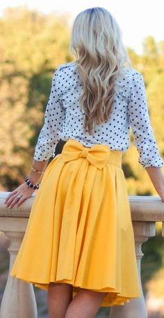 bows & dots. Yellow flowy skirt. Polka dot top. #engagementparty #bridalshower